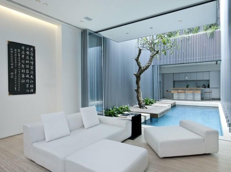 salon pequeno abiert jardin piscina muebles blancos ideas