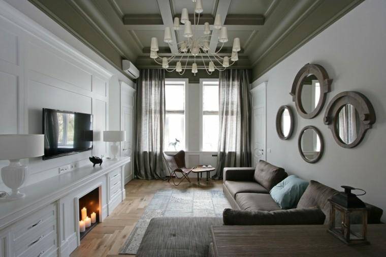 salon pequeno estrecho velas espejos decorativos ideas