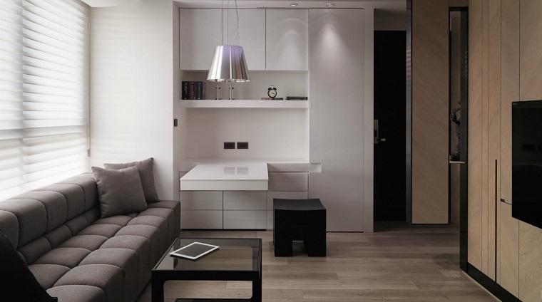 Decoraci n de interiores modernos en gris y blanco - Salon pequeno moderno ...