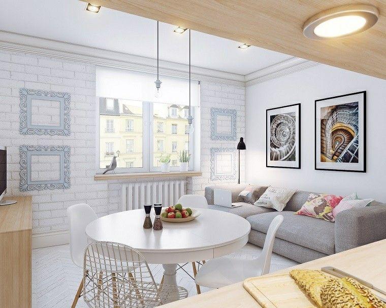 salon pequeno sofa gris paredes blancas ideas