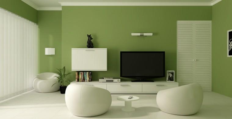 salon precioso pared verde butacas blancas ideas