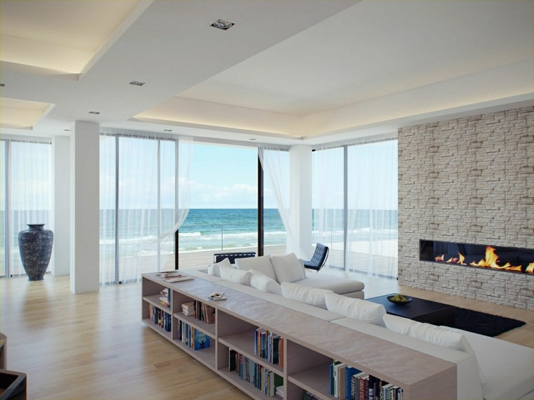 salones modernos con chimenea vistas