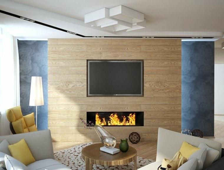 salones chimenea madera pared mesa