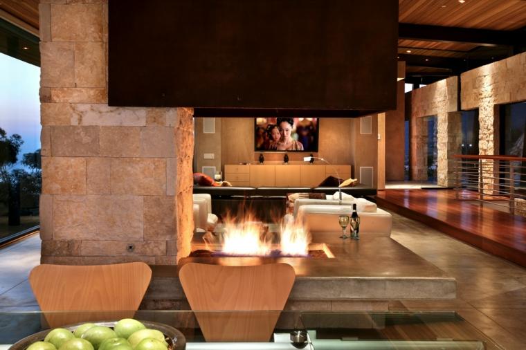 salones modernos chimenea fuego suelo