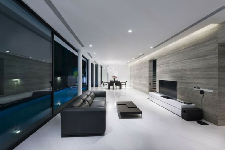 Sala de estar moderna de estilo minimalista 100 ideas - Salones de diseno minimalista ...