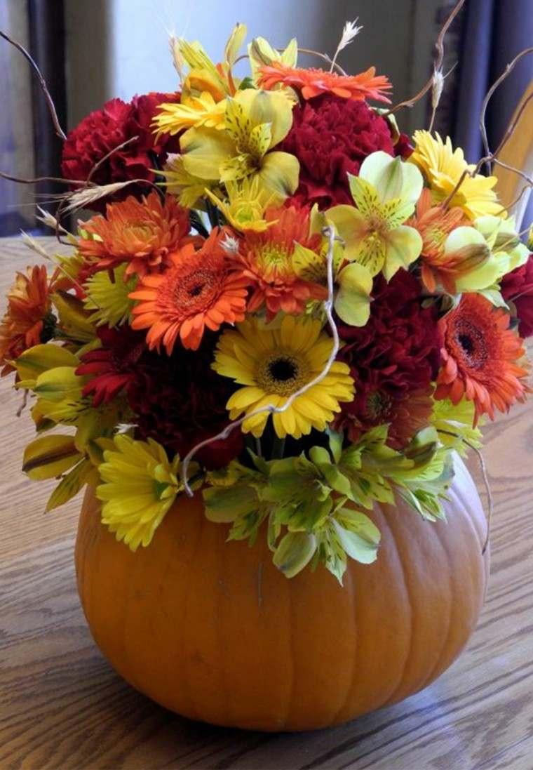seleccion flores colores jarron calabaza