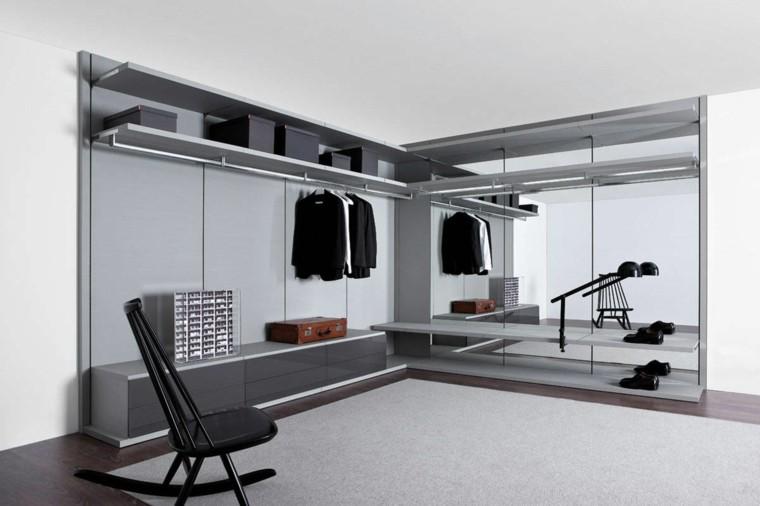 silla gris espacio alfombra estante