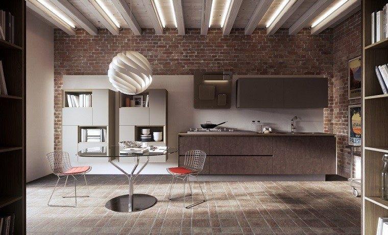 sillas acero mesa cristal pared ladrillo cocina ideas
