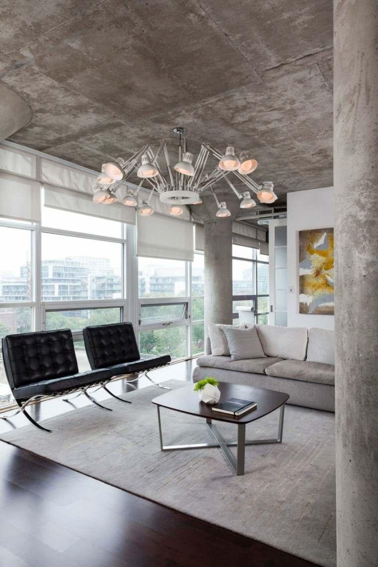 sillas cuero negro lampara colgando techo preciosa loft moderno ideas