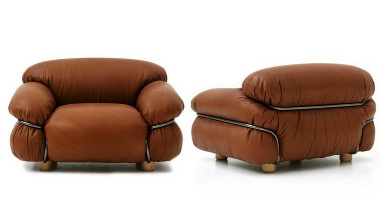 sillones piel color marron esponjosos