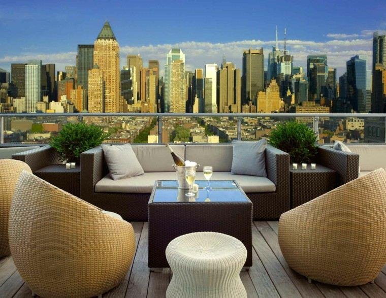 sillones rattan terraza taburete mesa encimera cristal ideas