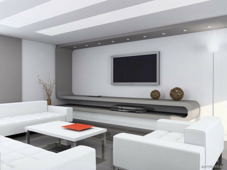Sala Tv Minimalista ~ Sala de estar moderna de estilo minimalista  100 idea