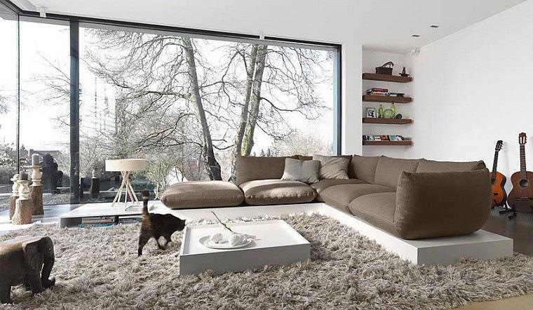 sofa alfombra mesa baja blanca salon moderno ideas