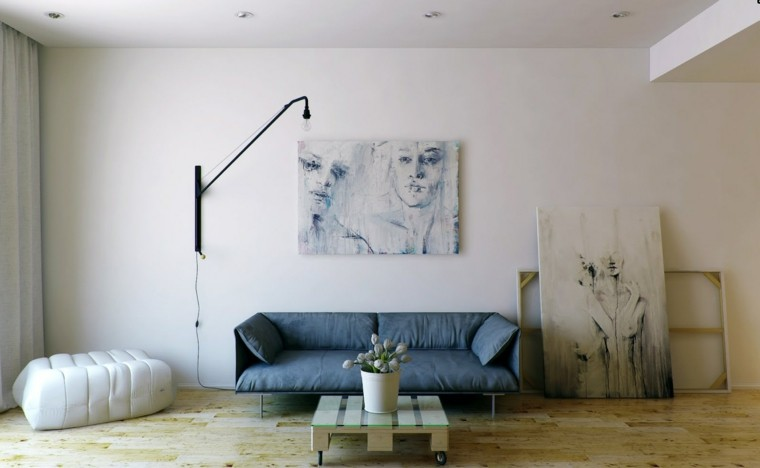 sofa color azul decoracion cuadros