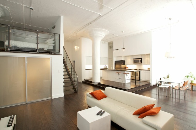 sofa blanca mesa loft diseno moderno ideas