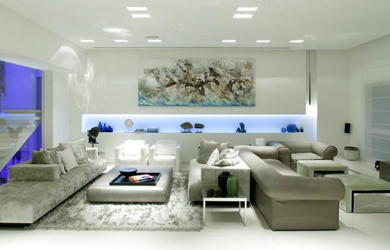 sofa blanco luces led azules