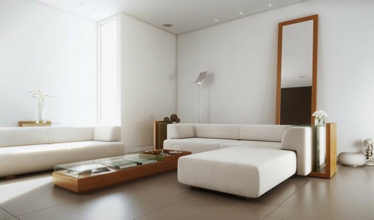 sofa blanco preciosa mesa madera salon ideas