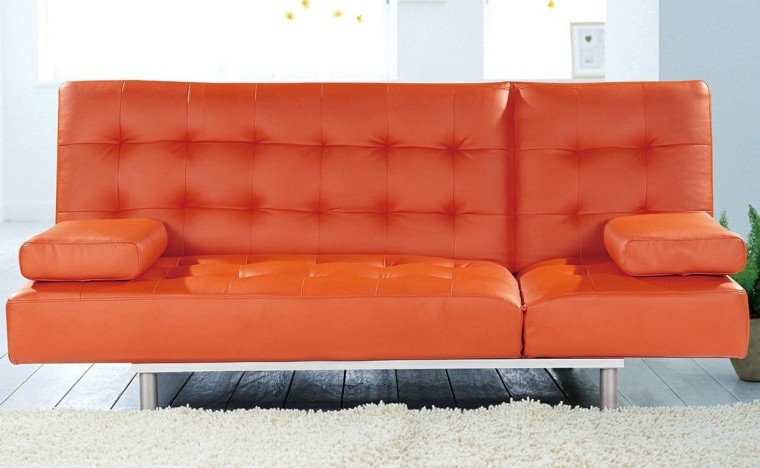 sofa acolchado capitone color naranja