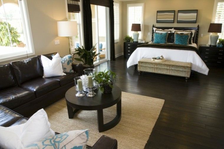 sofa cuero dormitorio moderno mesita cafe madera ideas