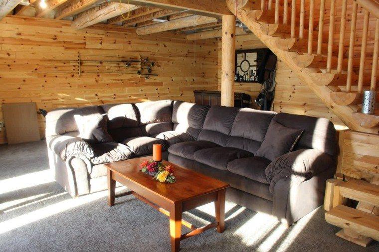 sofa forma ele cabaña madera