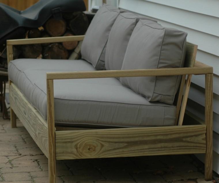 sofa madera natural para exterior