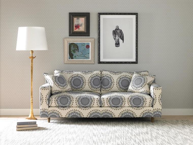 sofa preciosa cuadros pared salon moderno ideas
