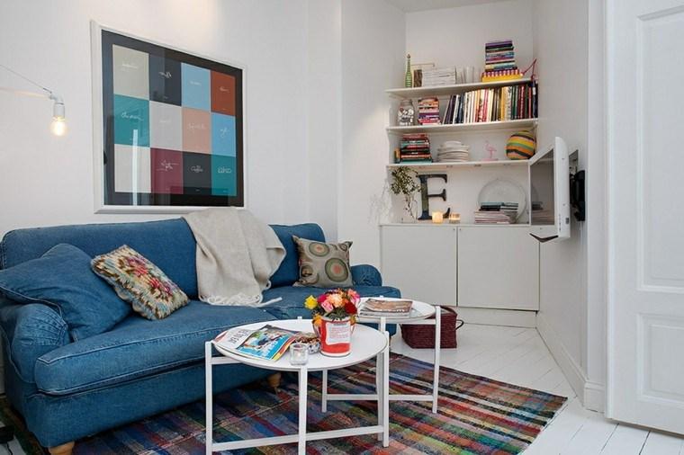 ideas paradecorar una casa sofa azul tela vaquera salon