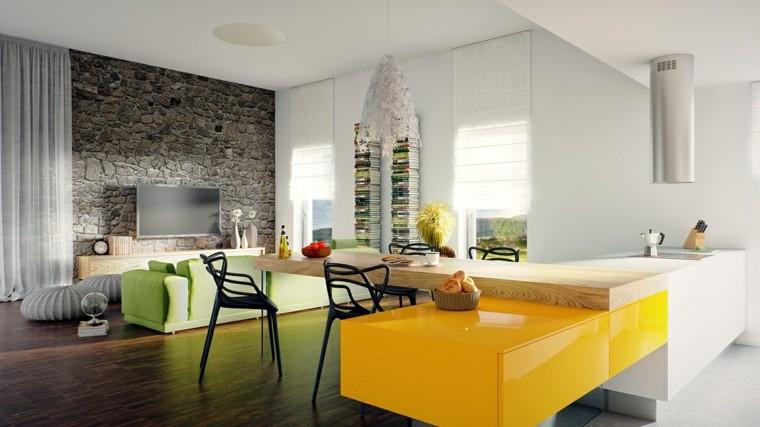 sofa verde salon moderno taburetes grises ideas
