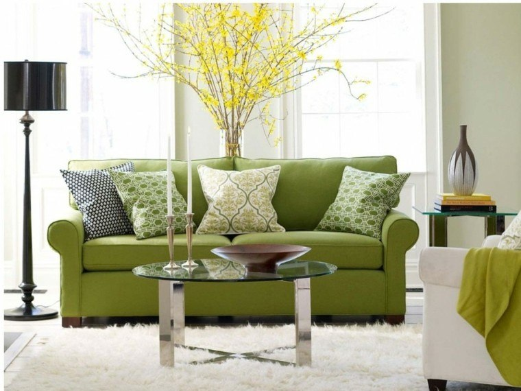 sofa barato color verde cojines