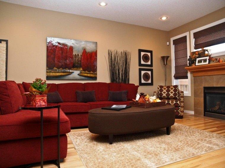 sofas color rojo salon moderno chimenea ideas