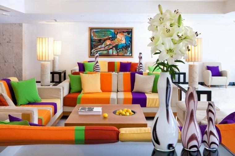sofas colores salon diseño moderno