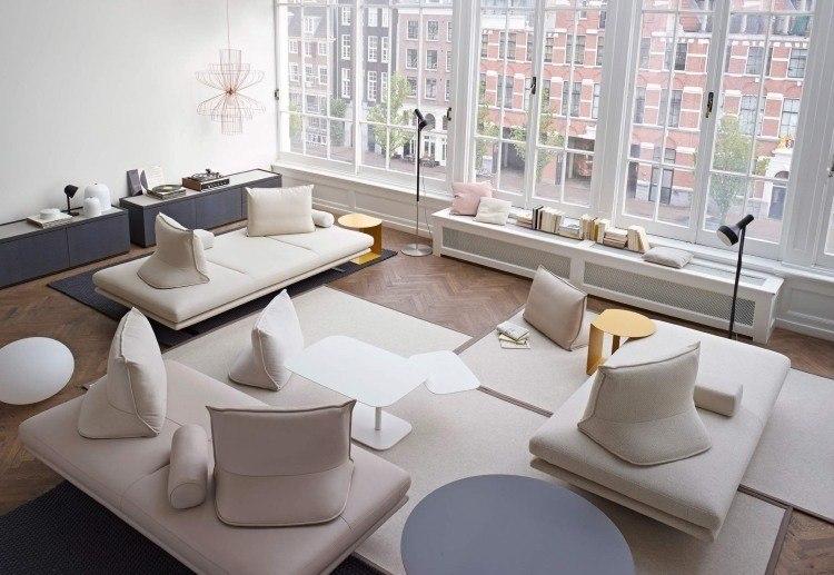 sofas interesantes salon moderno amplio ventanales ideas