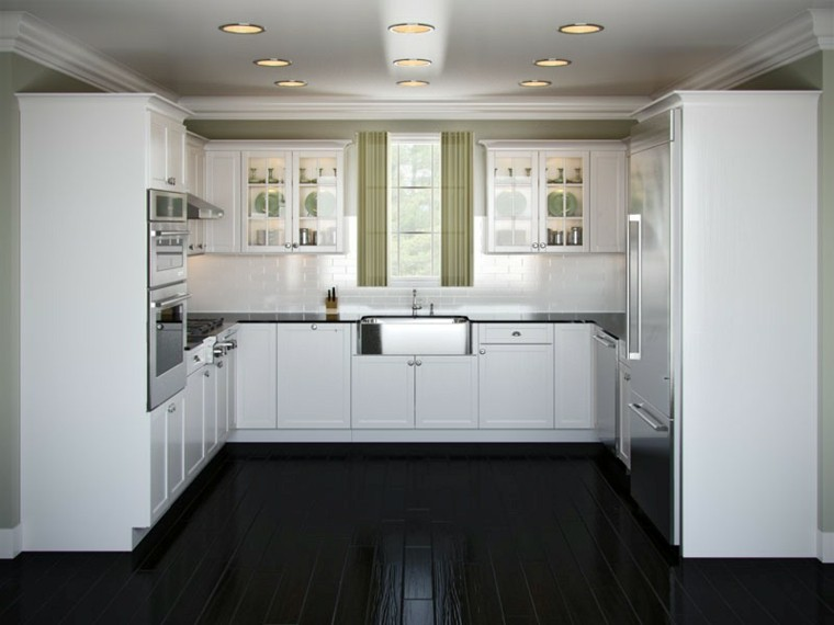 small u shaped kitchen white cabinets cocinas blancas y negras 50 ideas geniales a considerar 26407