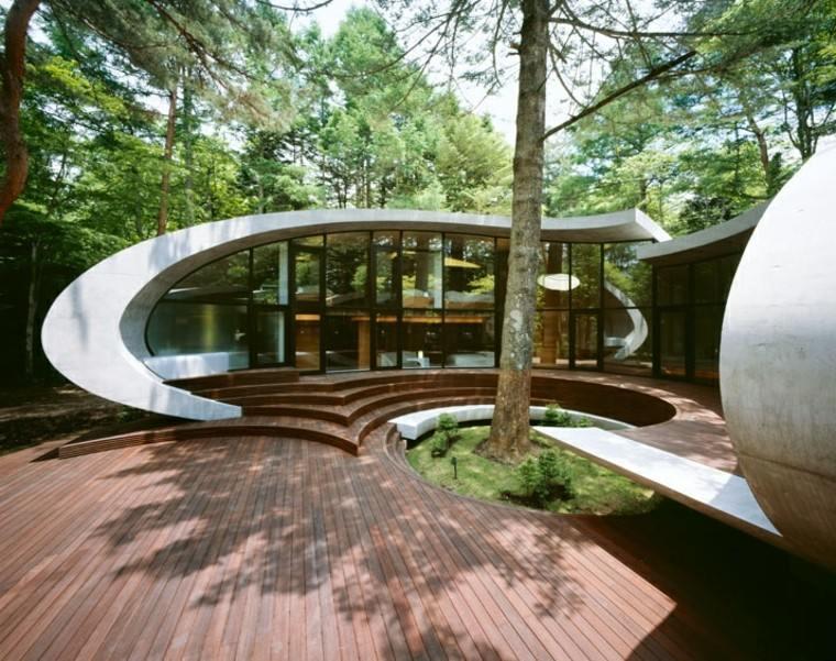 suelo madera casa arquitectura japonesa jardin ideas
