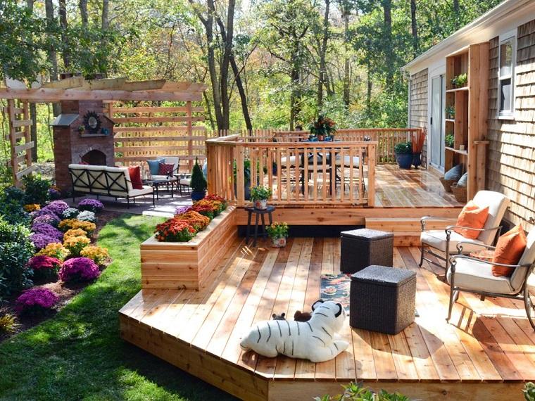 suelo madera terrza pergola chimenea jardin moderno ideas