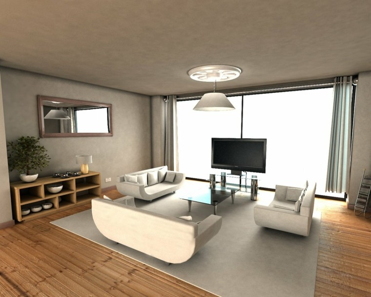 sala suelo madera muebles blancos