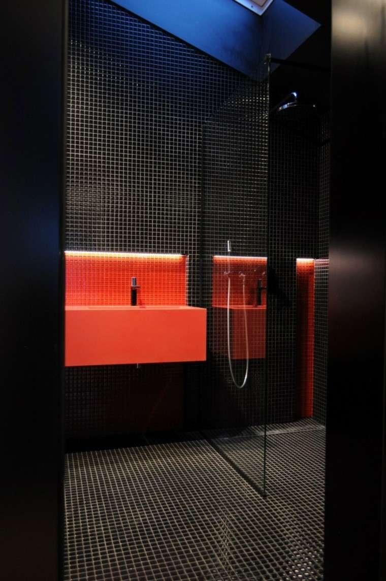 suelo pared mosaico lavabo rojo bano ideas
