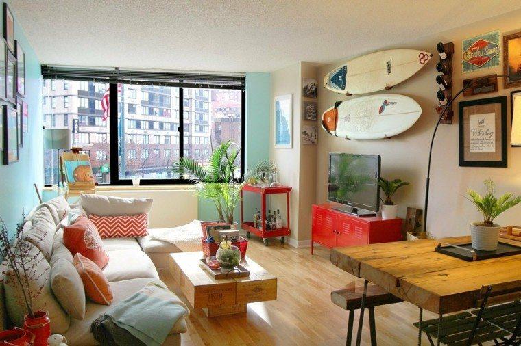 tablas de surf decorando con aires marinos 50 propuestas. Black Bedroom Furniture Sets. Home Design Ideas