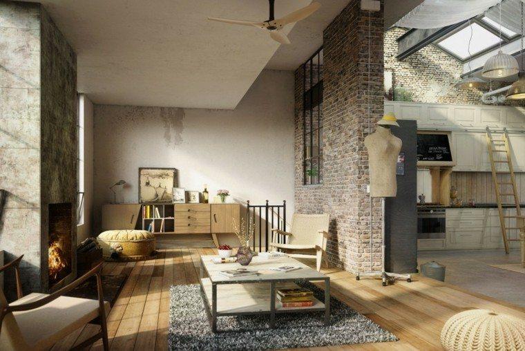 taburetes alfombra gris loft diseno moderno ideas