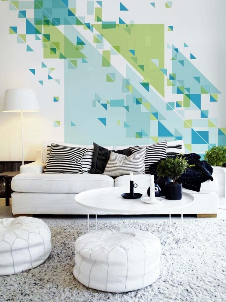 taburetes blancos papel pared interesante salon ideas