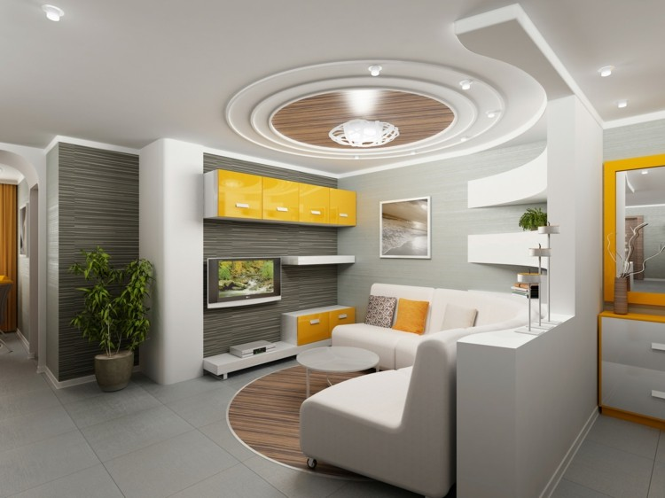 diseño techo salon blanco amarillo