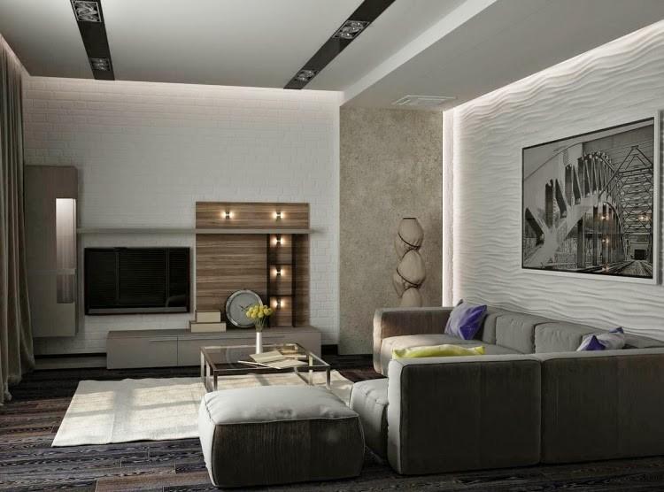 astounding modern living room ideas   Techos modernos con luces Led integradas - 50 ideas