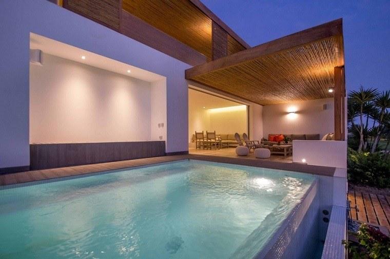 techos de madera terraza piscina