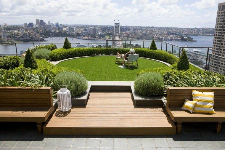 terraza cesped bancos madera plantas sillon ideas