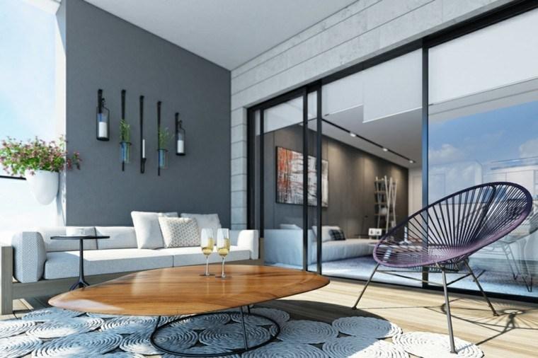 terraza moderna pared gris alfombra blanca preciosa ideas