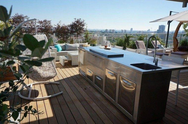terraza mueble bar acero cocina