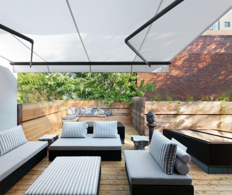 terraza pergola banco madera valla plantas ideas