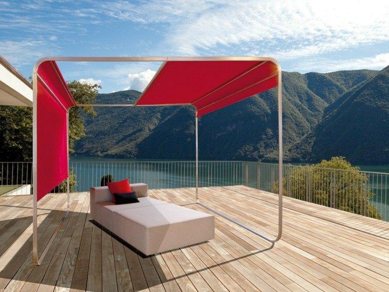 terrazas decoradas tumbona blanca pergola roja moderna ideas