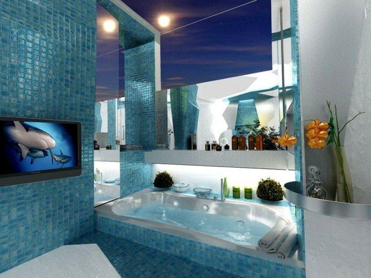tiburon television flores azul lamparas