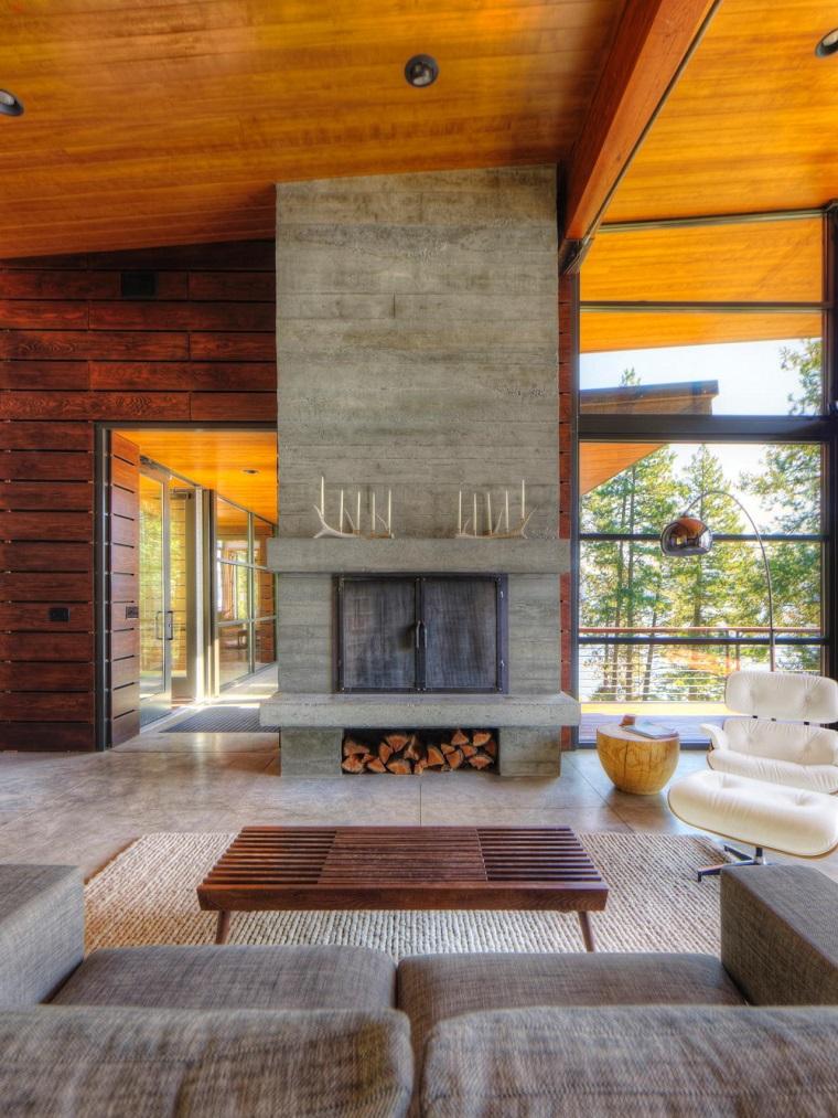 tipos de chimeneas hormigon grande mesita madera idea